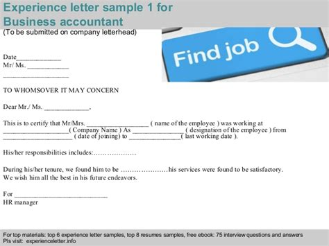 business accountant experience letter