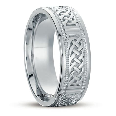white solid gold mens celtic wedding bands rings shiny