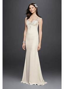 crepe wedding dress with deco inspired beading david39s With crepe wedding dress