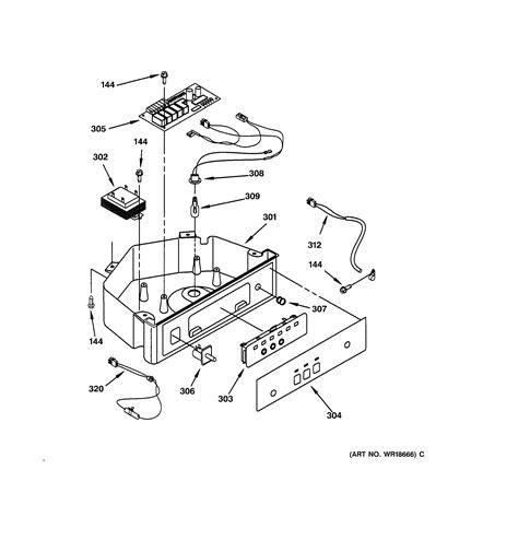 control panel parts diagram parts list  model zdicbbj ge parts ice maker parts