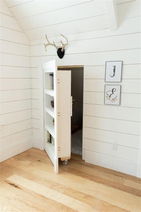 diy hidden doorway bookcase bright green door
