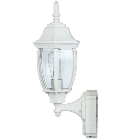 alexandria white outdoor wall light fixture motion sensor