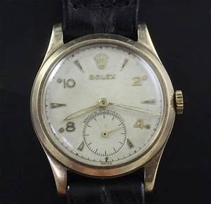 A Gentlemans Early 1950s 9ct Gold Mid Size Rolex Manual