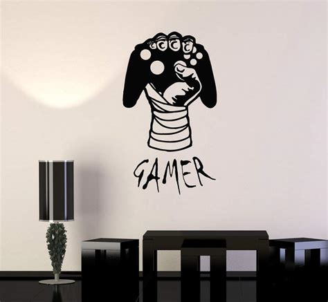 Vinyl Decal Gamer Hand Video Game Gaming Decor Boys Room