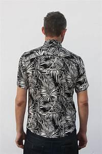 Chemise Noir Et Blanc : chemise palmier noir et blanc manche courte ba sap ~ Nature-et-papiers.com Idées de Décoration
