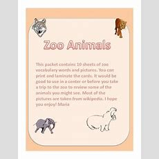 Zoo Animal Vocabulary  Word Wall Cards By Gimmekiss Tpt