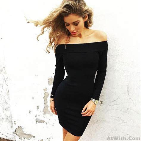 boat neck skin tight dress pencil skirt long sleeved sexy mini dress fashion dresses women s