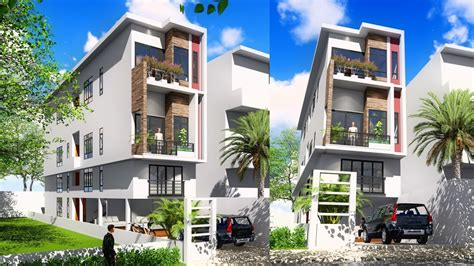 Sketchup 4 Story Narrow House Design 4.4x20m