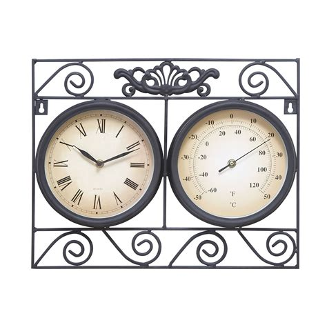outdoor metal clock   thermometer   excellent wall decor upgrade  exhibits