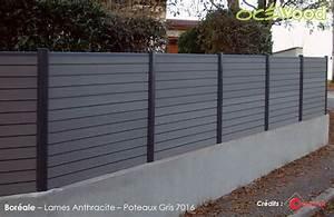 Cloture Sur Muret : cloture de jardin anthracite sur muret en bois composite ~ Carolinahurricanesstore.com Idées de Décoration