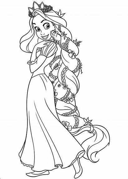 Princess Rapunzel Happy Coloring Pages Printable Disney