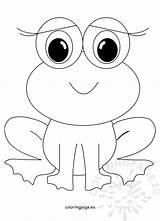 Frog Coloring Cute Animal Frogs Smiling Coloringpage Eu sketch template