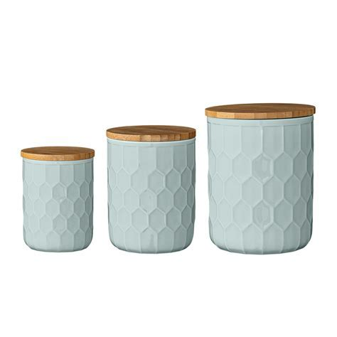 Set of 3 Turquoise Kitchen Canisters ? Beans and Jazz
