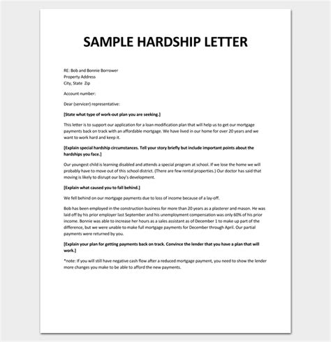 Modification Pdf hardship letter template 10 for word pdf format