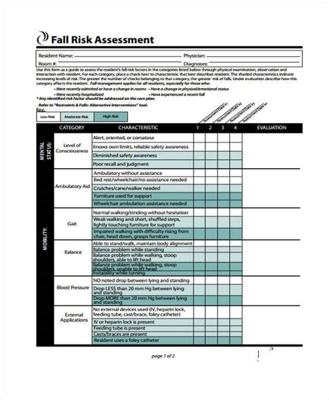 Risk Self Assessment Template by 7 Fall Risk Self Assessment Form Sles Free Sle