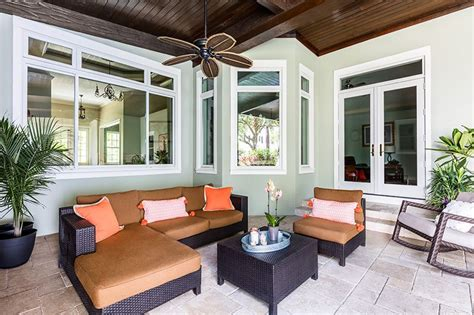 beautiful patio  florida  lined  large combination windows   patio door