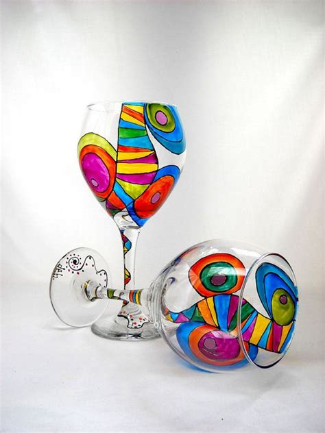 colorful wine glasses colorful wine glasses painted glassware by