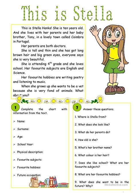 this is stella reading comprehension worksheet free