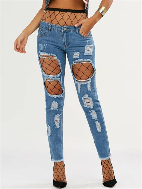 Deep Blue M High Waisted Fishnet Tights With Ninth Ripped Jeans | RoseGal.com