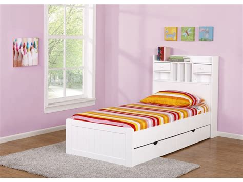 Chambre Blanche - lit mederick avec rangements 90x190 pin et mdf blanc