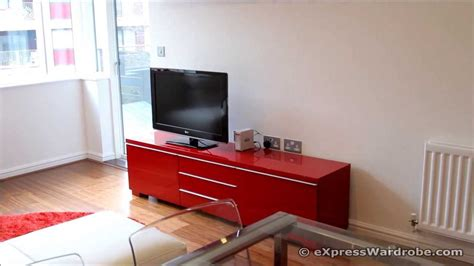 Ikea Besta Burs Tv Bench With Storage, Glass Extendable