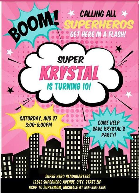printable girl superhero invitation template