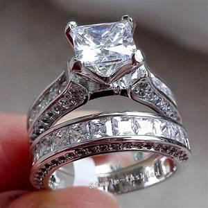fashion women princess cut diamonique cz white gold filled With diamonique wedding ring sets