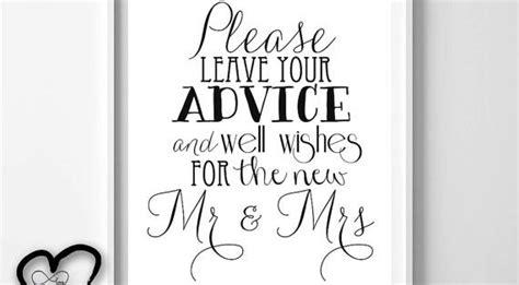 wedding advice sign  leave advice