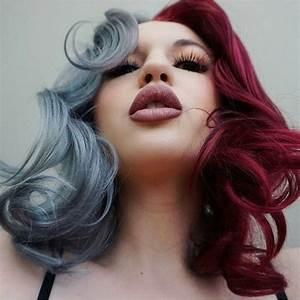 Half Trendy Gray Half Burgundy Dyed Hair Color Dyed Hair
