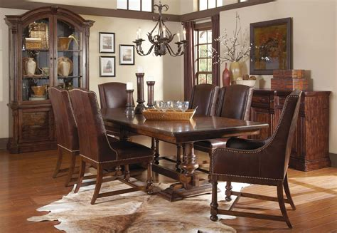 Whiskey Barrel Oak Trestle Extendable Dining Room Set From