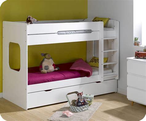lit mi hauteur avec bureau lit superposé spark blanc 90x200 cm avec sommier gigogne blanc