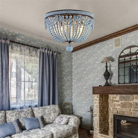 retro farmhouse distressed blue wood bead cascade  light