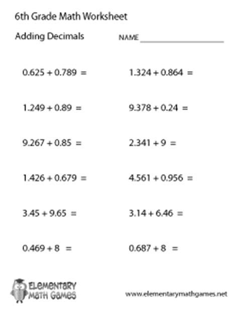 adding decimals worksheet 6th grade sixth grade math worksheets