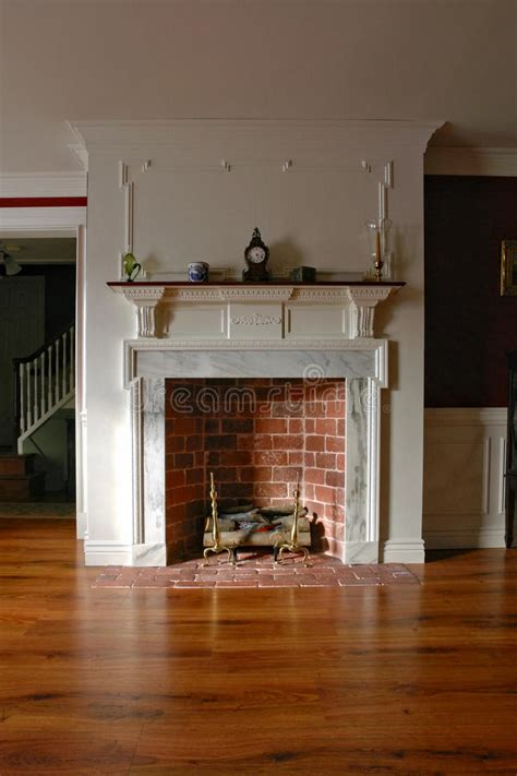 fireplace  antique colonial style home interior stock photo image  elaborate vintage