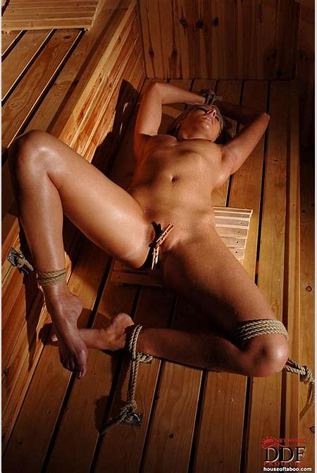 Sex Previews - Viktoria Diamond nude blonde is rope bound in a hot sauna