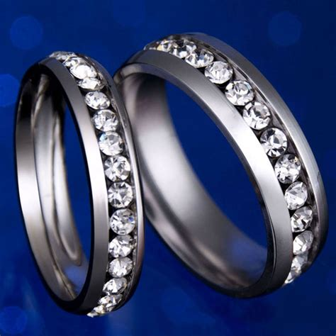 Titanium Classic Fashion Stainless Steel Engagement Ring