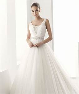 Simple a line tulle beadingcrystal sweep brush train for A line wedding dresses with straps