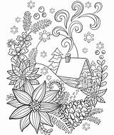 Coloring Snow Adults Crayola Cabin Pages Christmas Adult Winter Colouring Easter Sheets Mandala Holiday Flower Pattern Cat Cardinal Printable Noel sketch template