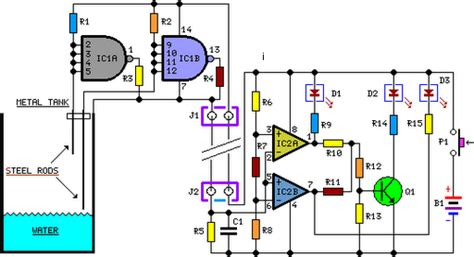 Simple Water Level Indicator Circuit Schematic