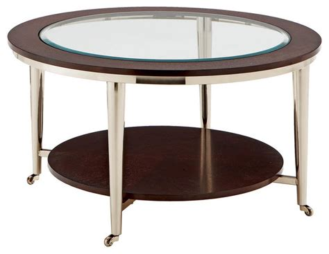 Norton Cocktail Table  Glass Top  35in Round