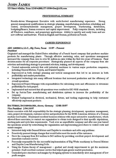 executive summary resume manufacturing executive resume examples sample resume 21646 | b13d1249e46693eb691990963e28d90a
