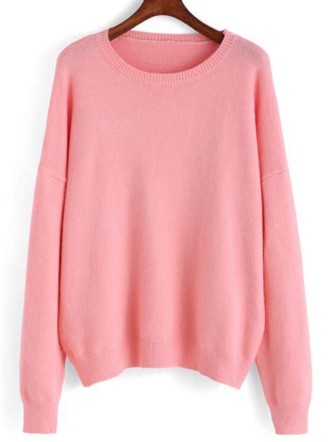 plain knit hoodie neck knit pink sweaterfor romwe