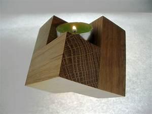 Kerzenständer Holz Groß : cube teelicht eichen kerzenst nder kunsthandwerk von empathie78 bei kunstnet ~ Eleganceandgraceweddings.com Haus und Dekorationen