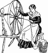 Spinning Wheel Clipart Woman Using Template Coloring Pages Sketch sketch template