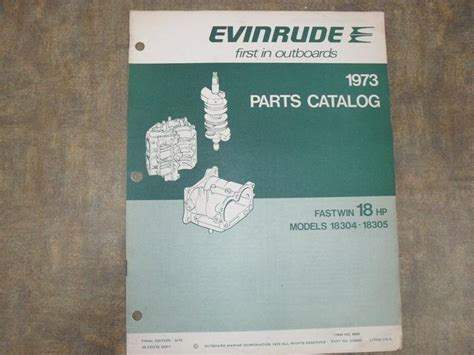 Evinrude 1973 Parts Catalog Fastwin 18 Hp