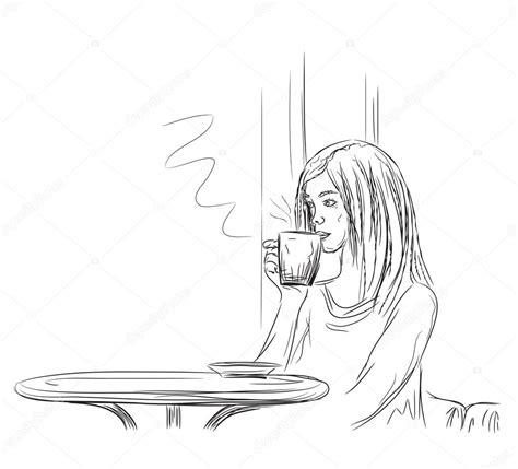커피를 마시는 여자 스톡 벡터 © Yuliia25 #92569588