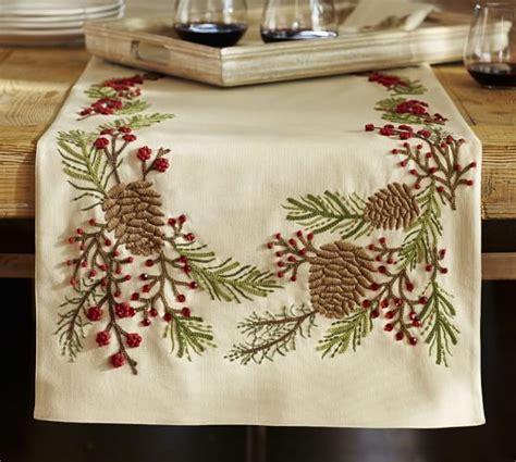 pottery barn christmas table runner pinecone berry embroidered table runner pottery barn