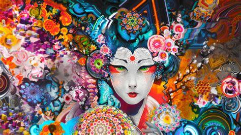 Geisha Anime Wallpaper - colorful abstract geisha wallpapers hd desktop and