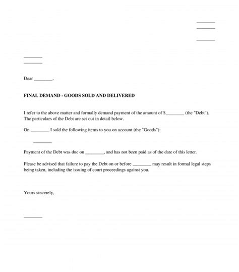 letter  demand sample template word