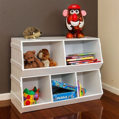 Kids Stackable Wooden Toy Storage Box Shelves 2pc   Buy